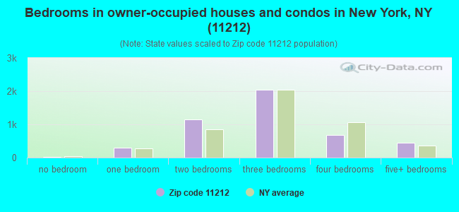 Bedrooms in owner-occupied houses and condos in New York, NY (11212)