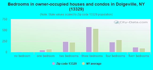 Bedrooms in owner-occupied houses and condos in Dolgeville, NY (13329)
