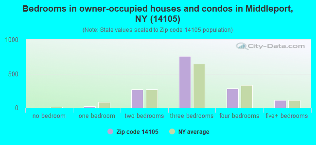 Bedrooms in owner-occupied houses and condos in Middleport, NY (14105)