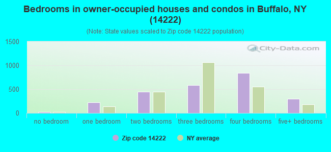 Bedrooms in owner-occupied houses and condos in Buffalo, NY (14222)