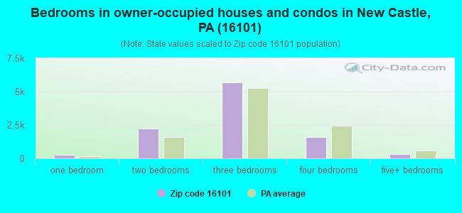 Bedrooms in owner-occupied houses and condos in New Castle, PA (16101)