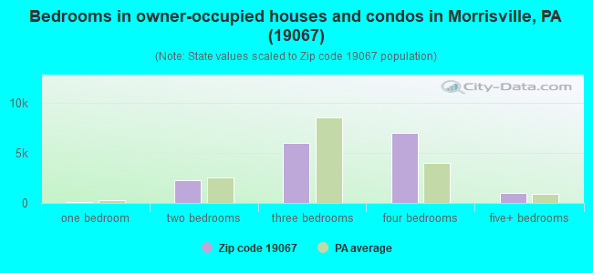 Bedrooms in owner-occupied houses and condos in Morrisville, PA (19067)
