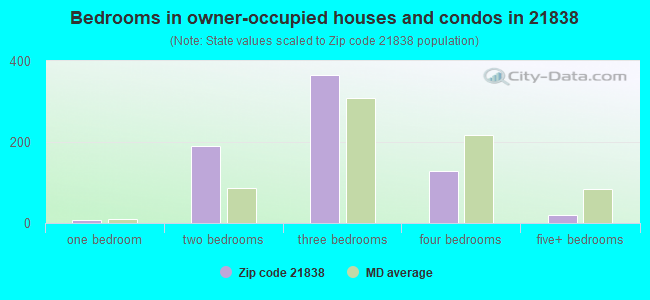 Bedrooms in owner-occupied houses and condos in 21838