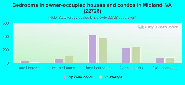 Bedrooms in owner-occupied houses and condos in Midland, VA (22728)