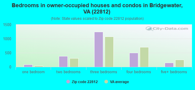 Bedrooms in owner-occupied houses and condos in Bridgewater, VA (22812)
