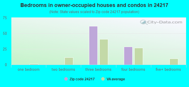 Bedrooms in owner-occupied houses and condos in 24217