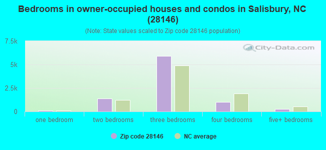 Bedrooms in owner-occupied houses and condos in Salisbury, NC (28146)