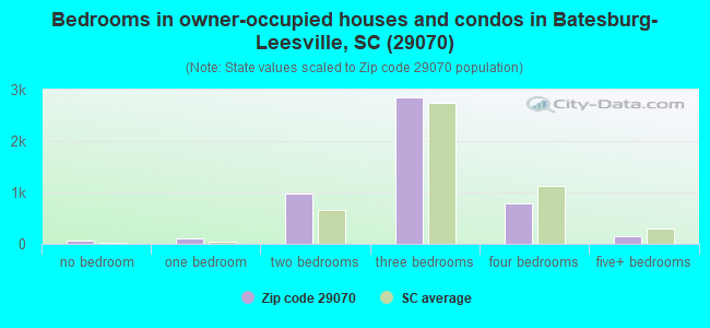 Bedrooms in owner-occupied houses and condos in Batesburg-Leesville, SC (29070)