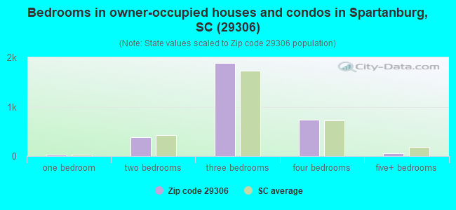 Bedrooms in owner-occupied houses and condos in Spartanburg, SC (29306)