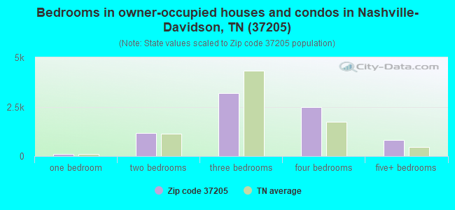 Bedrooms in owner-occupied houses and condos in Nashville-Davidson, TN (37205)