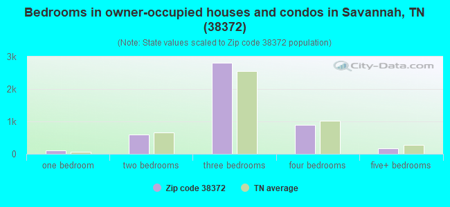 Bedrooms in owner-occupied houses and condos in Savannah, TN (38372)