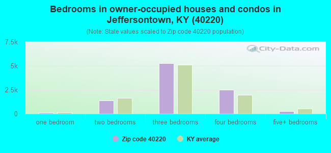 Bedrooms in owner-occupied houses and condos in Jeffersontown, KY (40220)