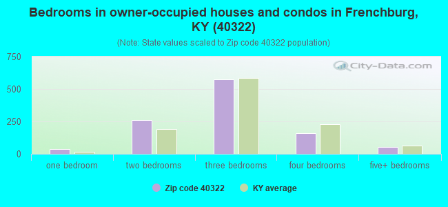 Bedrooms in owner-occupied houses and condos in Frenchburg, KY (40322)