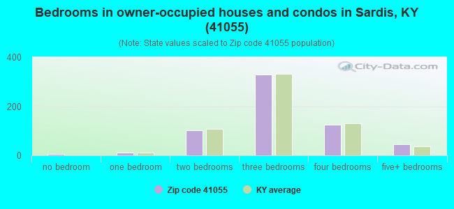 Bedrooms in owner-occupied houses and condos in Sardis, KY (41055)
