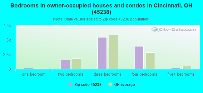 Bedrooms in owner-occupied houses and condos in Cincinnati, OH (45238)