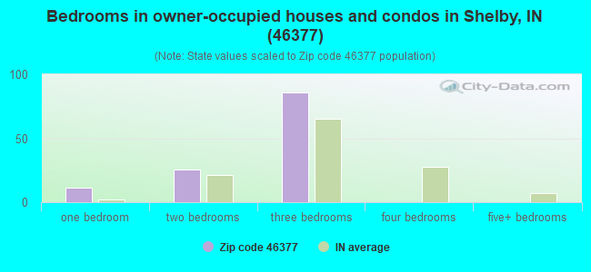 Bedrooms in owner-occupied houses and condos in Shelby, IN (46377)