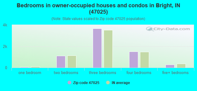 Bedrooms in owner-occupied houses and condos in Bright, IN (47025)