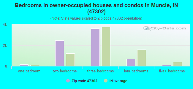 Bedrooms in owner-occupied houses and condos in Muncie, IN (47302)