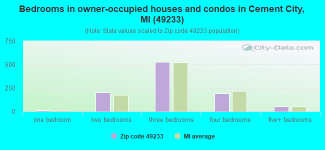 Bedrooms in owner-occupied houses and condos in Cement City, MI (49233)