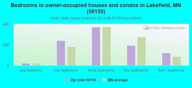 Bedrooms in owner-occupied houses and condos in Lakefield, MN (56150)