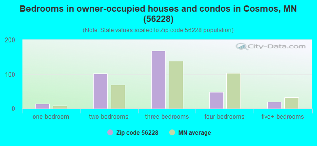 Bedrooms in owner-occupied houses and condos in Cosmos, MN (56228)
