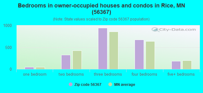 Bedrooms in owner-occupied houses and condos in Rice, MN (56367)