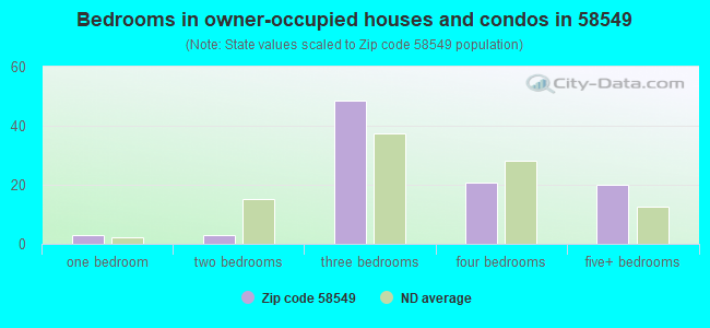 Bedrooms in owner-occupied houses and condos in 58549
