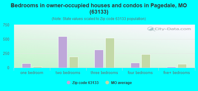 Bedrooms in owner-occupied houses and condos in Pagedale, MO (63133)