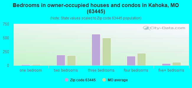 Bedrooms in owner-occupied houses and condos in Kahoka, MO (63445)