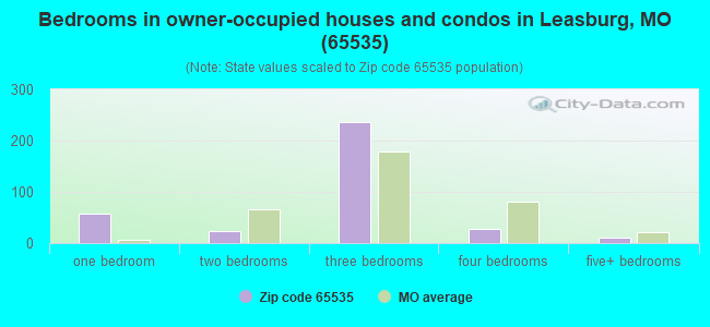 Bedrooms in owner-occupied houses and condos in Leasburg, MO (65535)