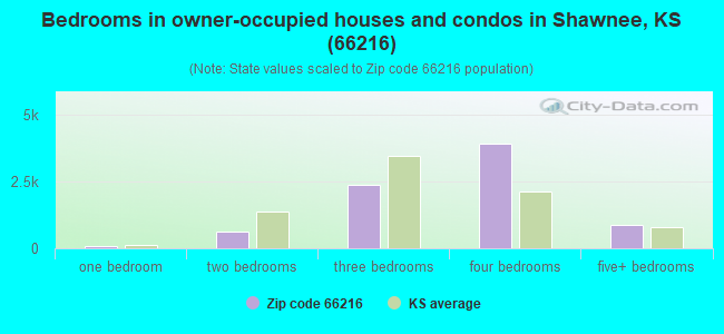Bedrooms in owner-occupied houses and condos in Shawnee, KS (66216)