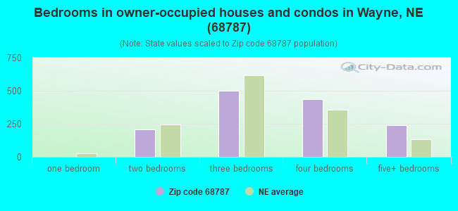 Bedrooms in owner-occupied houses and condos in Wayne, NE (68787)