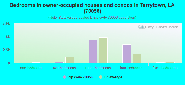 Bedrooms in owner-occupied houses and condos in Terrytown, LA (70056)