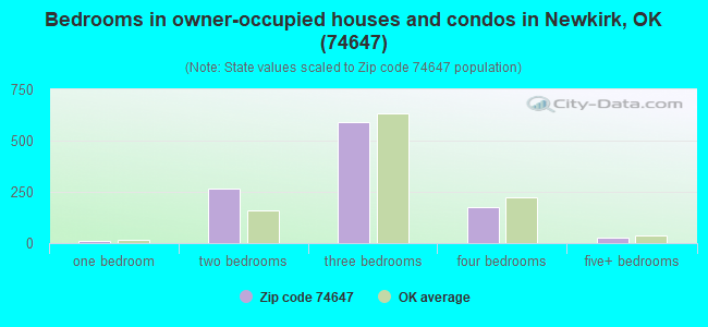 Bedrooms in owner-occupied houses and condos in Newkirk, OK (74647)