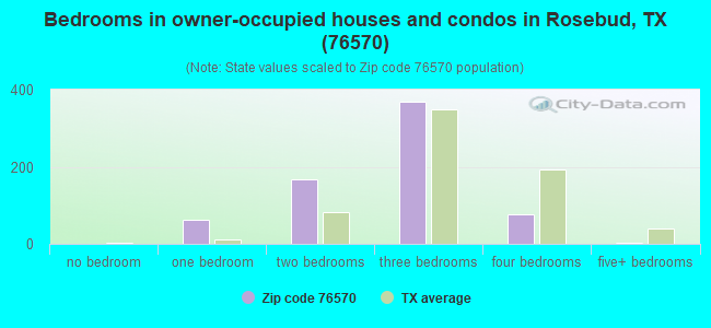 Bedrooms in owner-occupied houses and condos in Rosebud, TX (76570)