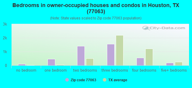 Bedrooms in owner-occupied houses and condos in Houston, TX (77063)
