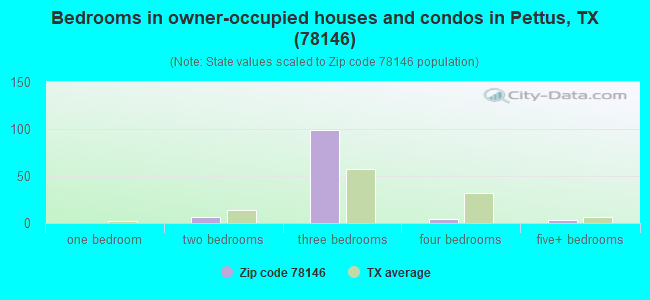 Bedrooms in owner-occupied houses and condos in Pettus, TX (78146)