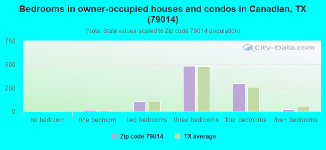 Bedrooms in owner-occupied houses and condos in Canadian, TX (79014)