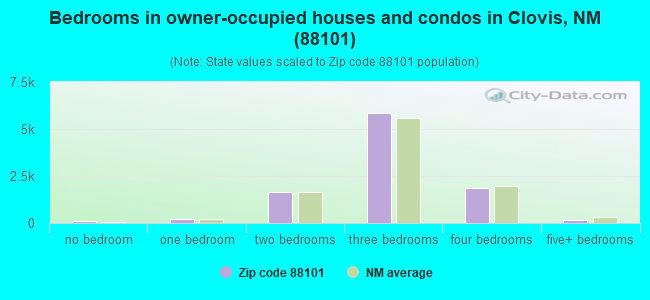 Bedrooms in owner-occupied houses and condos in Clovis, NM (88101)