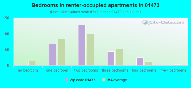 Bedrooms in renter-occupied apartments in 01473