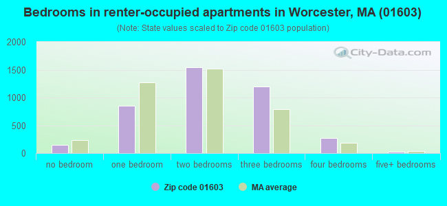 Bedrooms in renter-occupied apartments in Worcester, MA (01603)