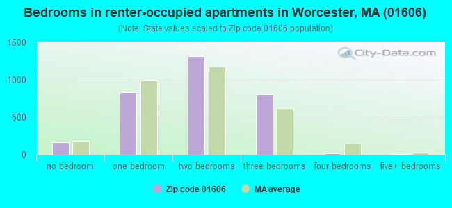 Bedrooms in renter-occupied apartments in Worcester, MA (01606)