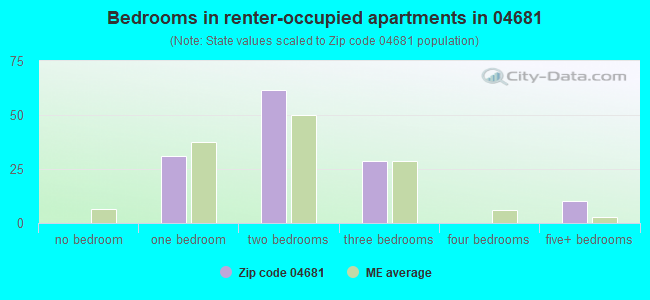 Bedrooms in renter-occupied apartments in 04681