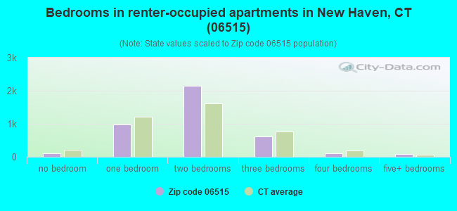 Bedrooms in renter-occupied apartments in New Haven, CT (06515)