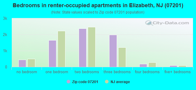 Bedrooms in renter-occupied apartments in Elizabeth, NJ (07201)