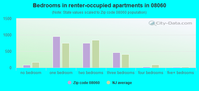 Bedrooms in renter-occupied apartments in 08060