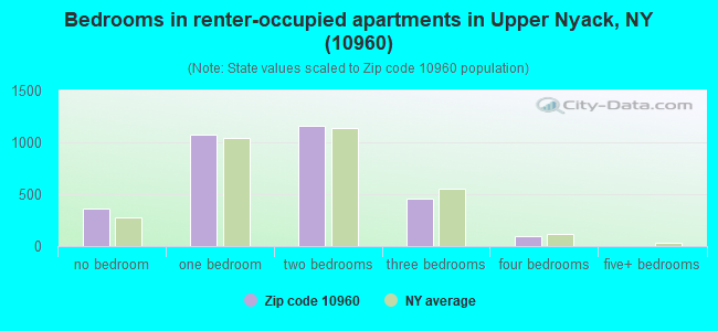 Bedrooms in renter-occupied apartments in Upper Nyack, NY (10960)