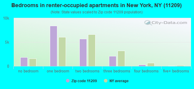 Bedrooms in renter-occupied apartments in New York, NY (11209)