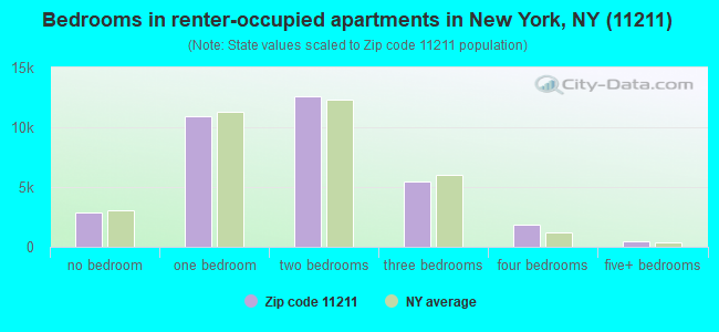 Bedrooms in renter-occupied apartments in New York, NY (11211)
