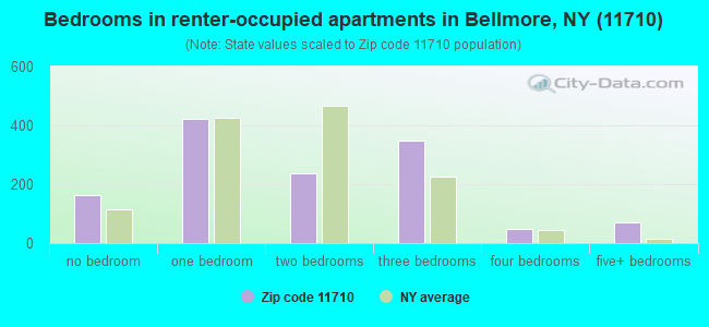 Bedrooms in renter-occupied apartments in Bellmore, NY (11710)